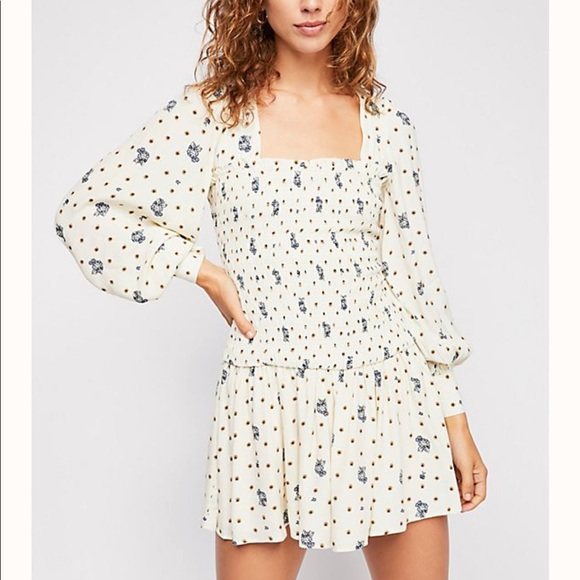 NWOT Free People Two Faces Smocked Dress Sz S